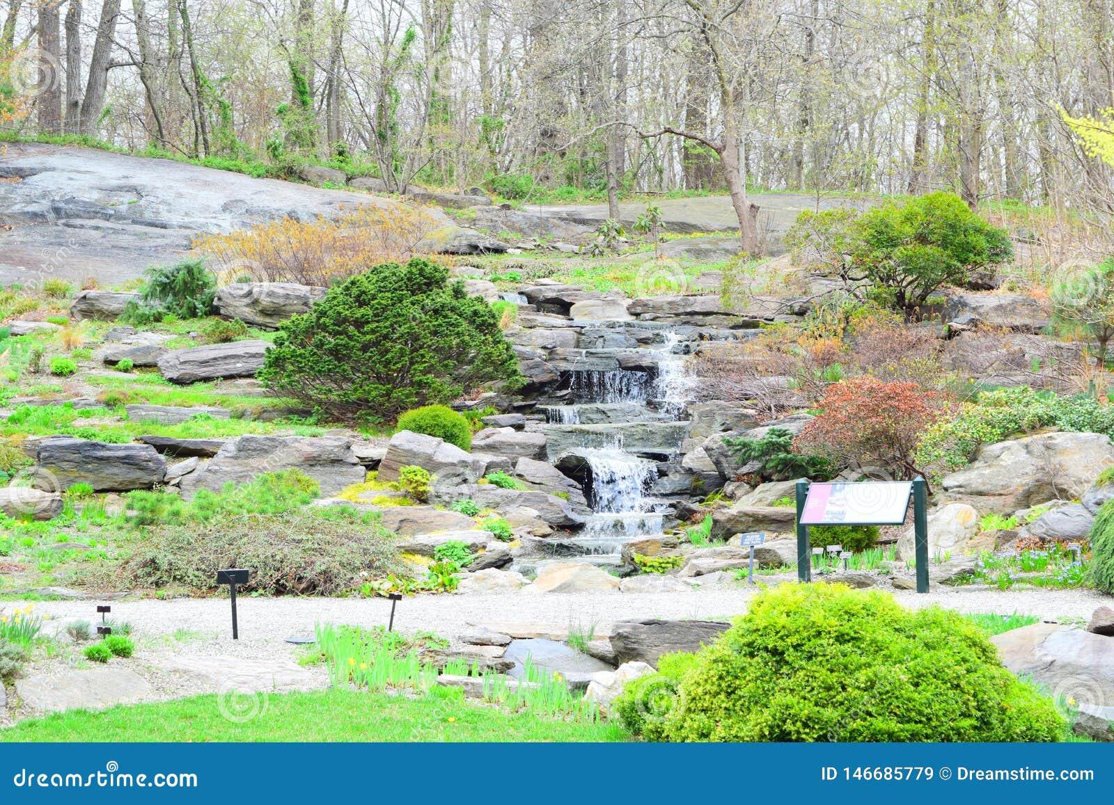 Ogród lub park z mini siklawą