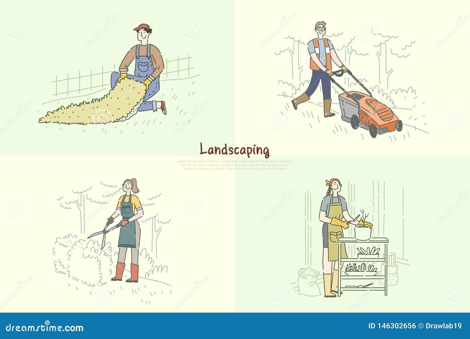 Ogrodniczki kośby gazon, złota rączka instaluje sztucznej trawy, kobiety flancowania kwiaty, arymażu krzaka sztandar