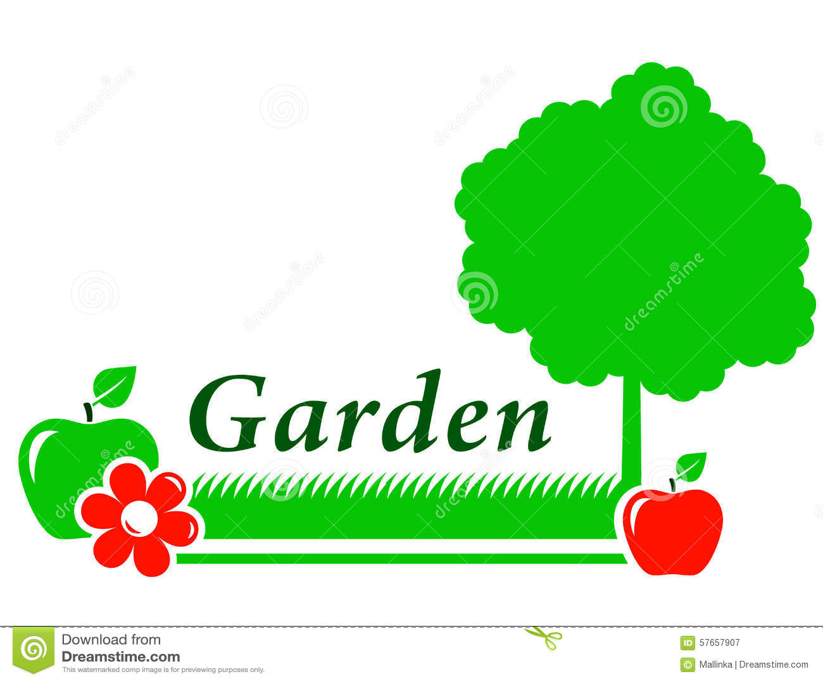 Ogrodowy tło z drzewem, kwiat, zielona trawa