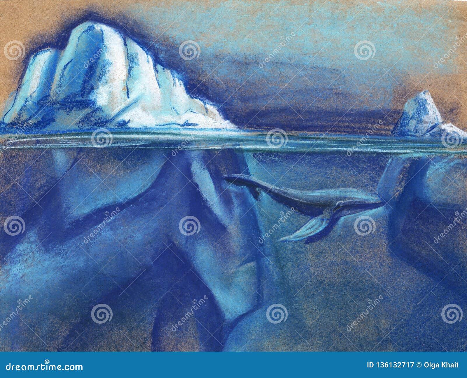 Ogromna biała góra lodowa w Arktycznym gwiaździstym nocnym niebie błękitny wieloryb Malujący z pastelem na papierowej ilustracji