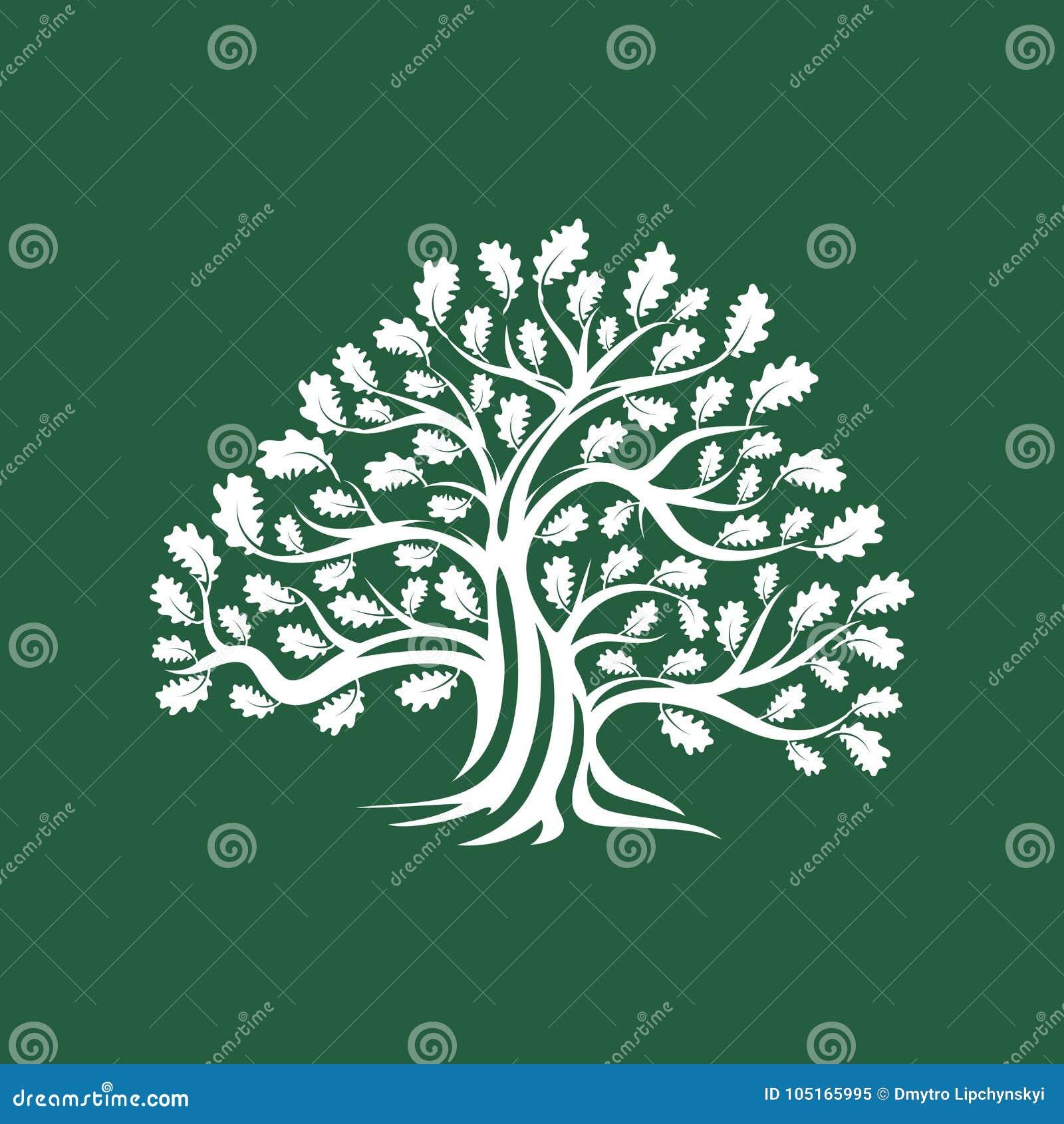 Ogromna i święta dębowego drzewa sylwetki loga odznaka odizolowywająca na brown tle