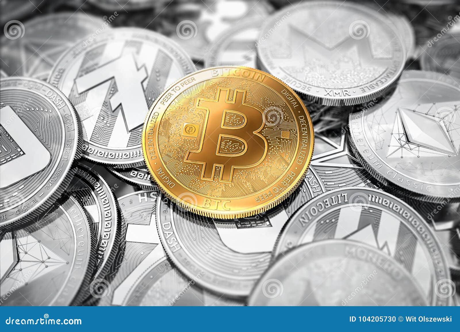 Ogromna sterta cryptocurrencies z złotym bitcoin na przodzie jako lider Bitcoin jak najwięcej znacząco cryptocurrency
