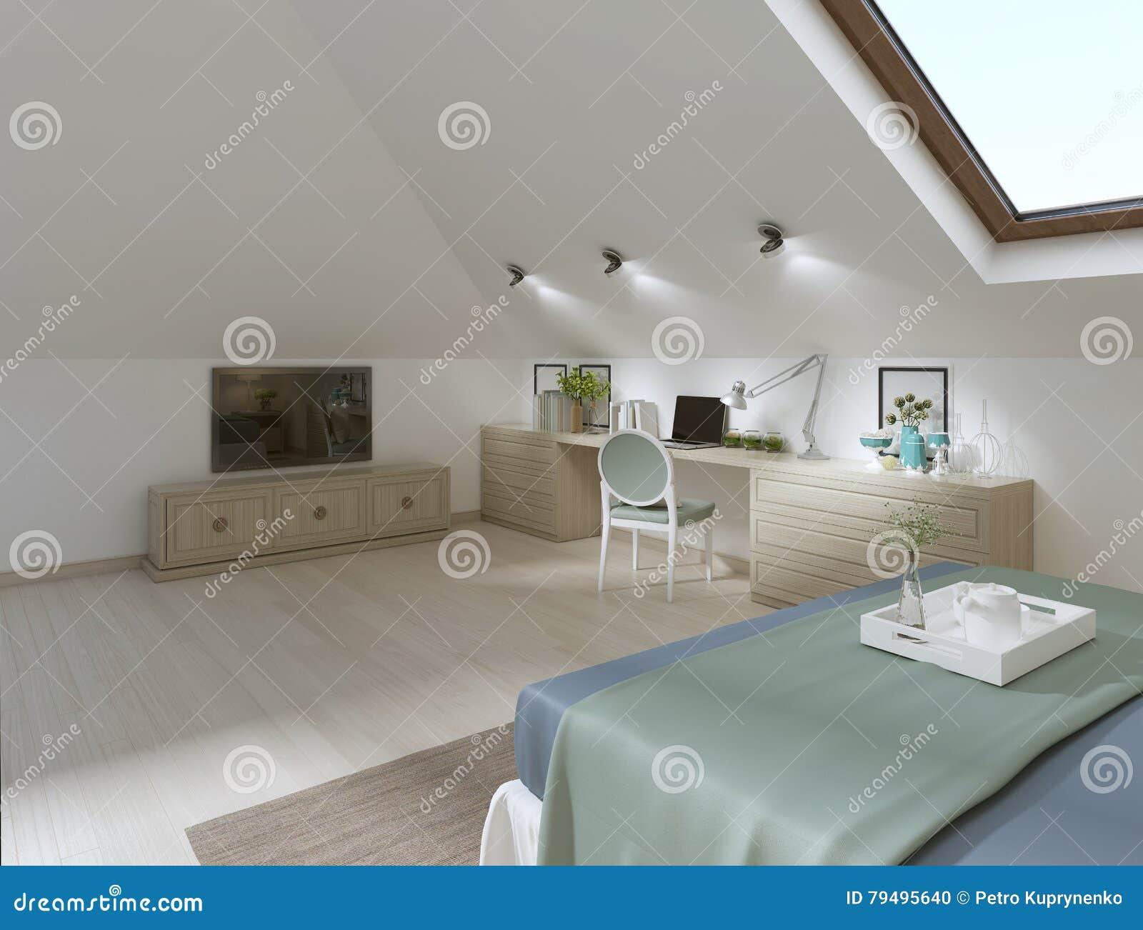 Ogromna sypialnia na loft w nowożytnym stylu