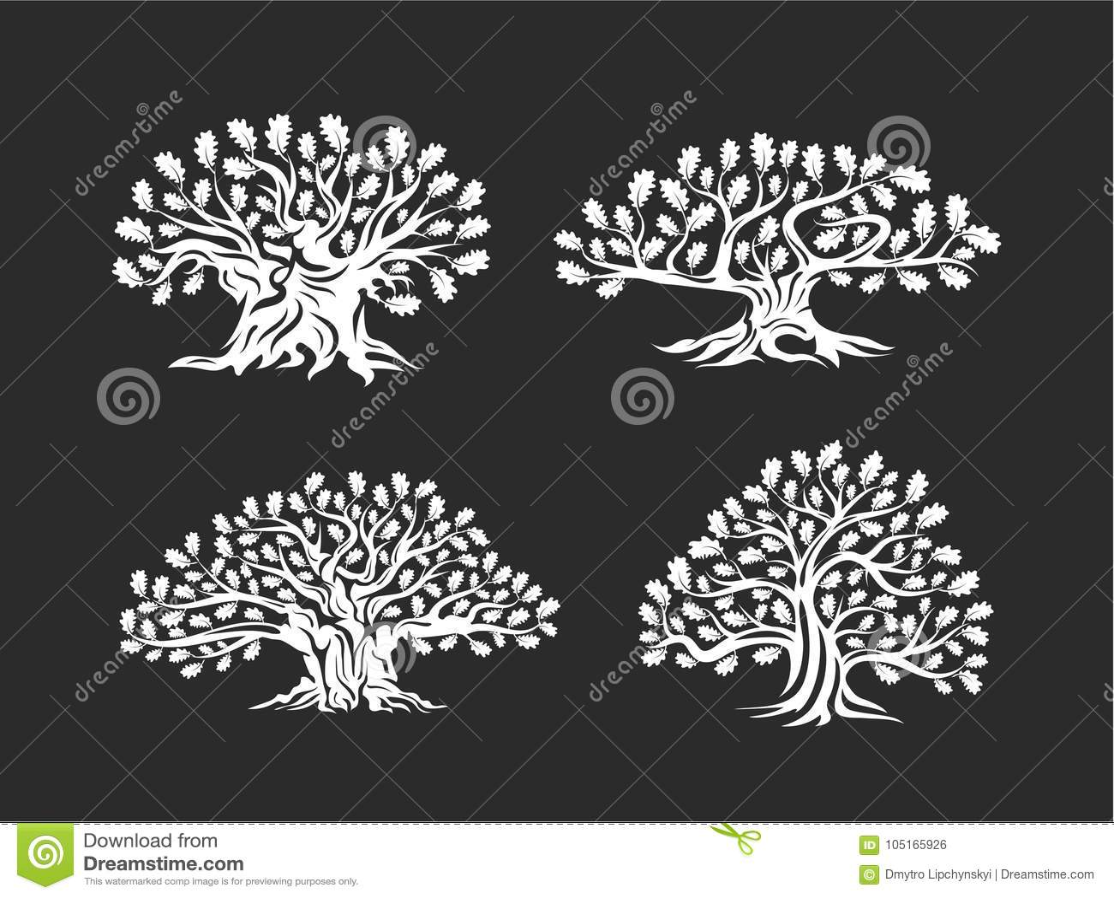 Ogromny i święty dębowego drzewa sylwetki logo odizolowywający na tle