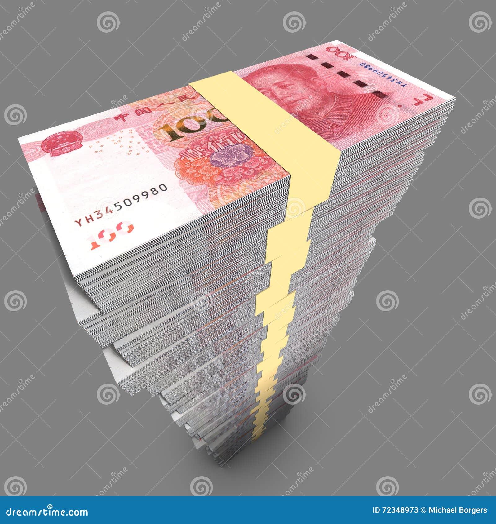 Ogromny pojedynczy stos chińczyk 100 RMB rachunków