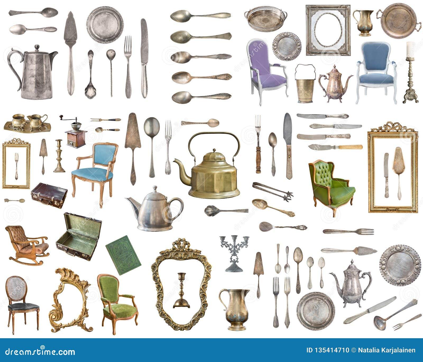 Ogromny set antykwarskie rzeczy Rocznika gospodarstwa domowego rzeczy, silverware, meble i więcej, pojedynczy białe tło