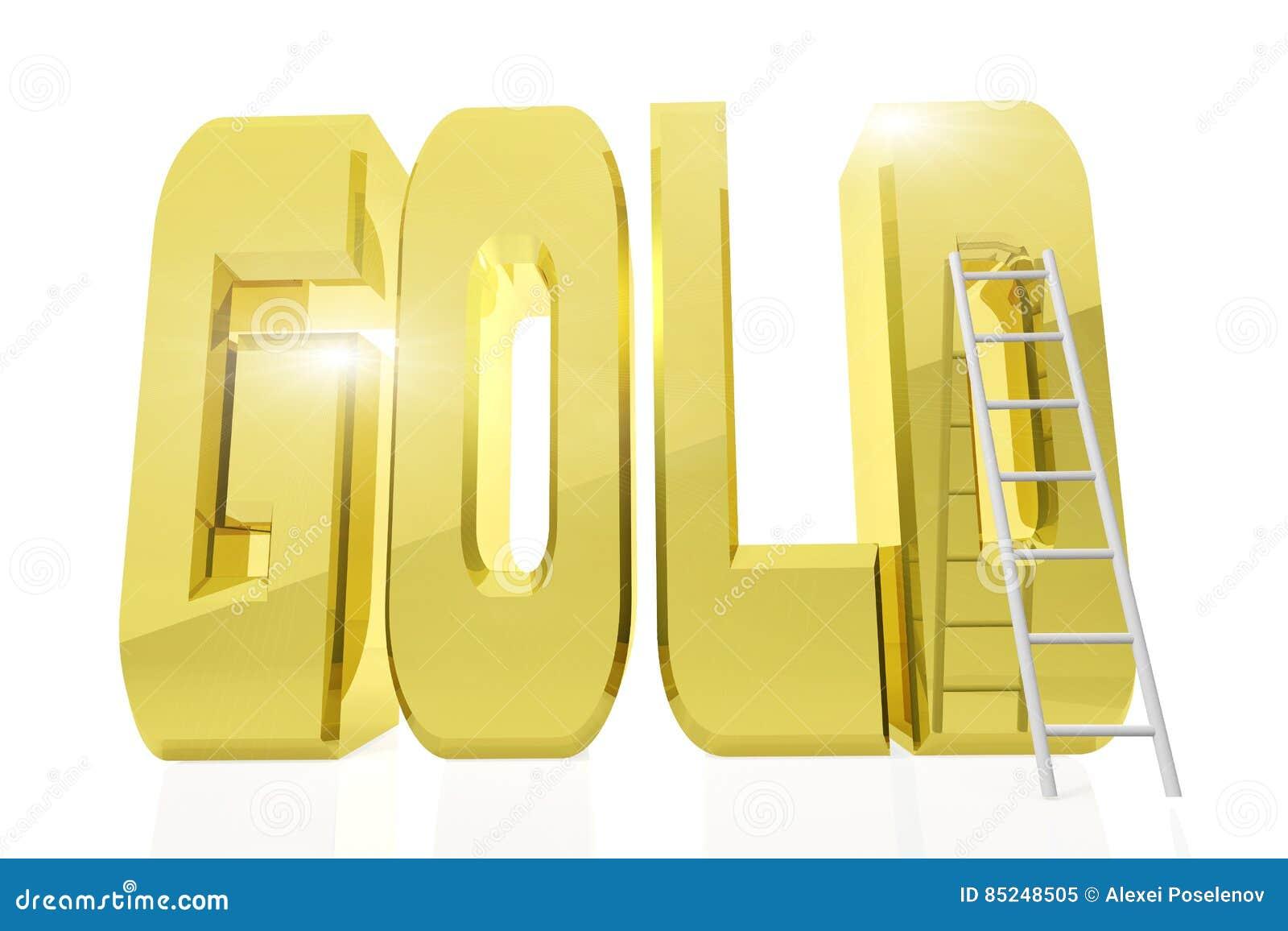 Ogromny złoty słowo złoto z drabiną obok go