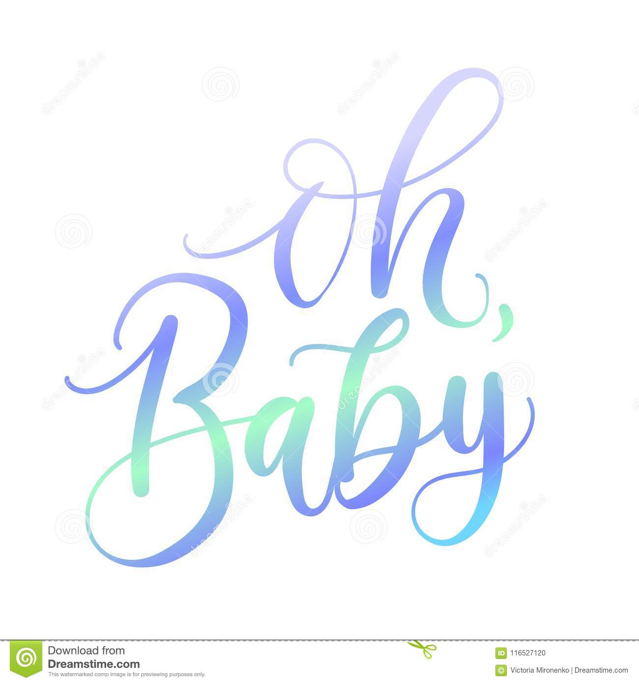 Oh Baby Holographic Lettering Inscription For Baby Shower Isolat