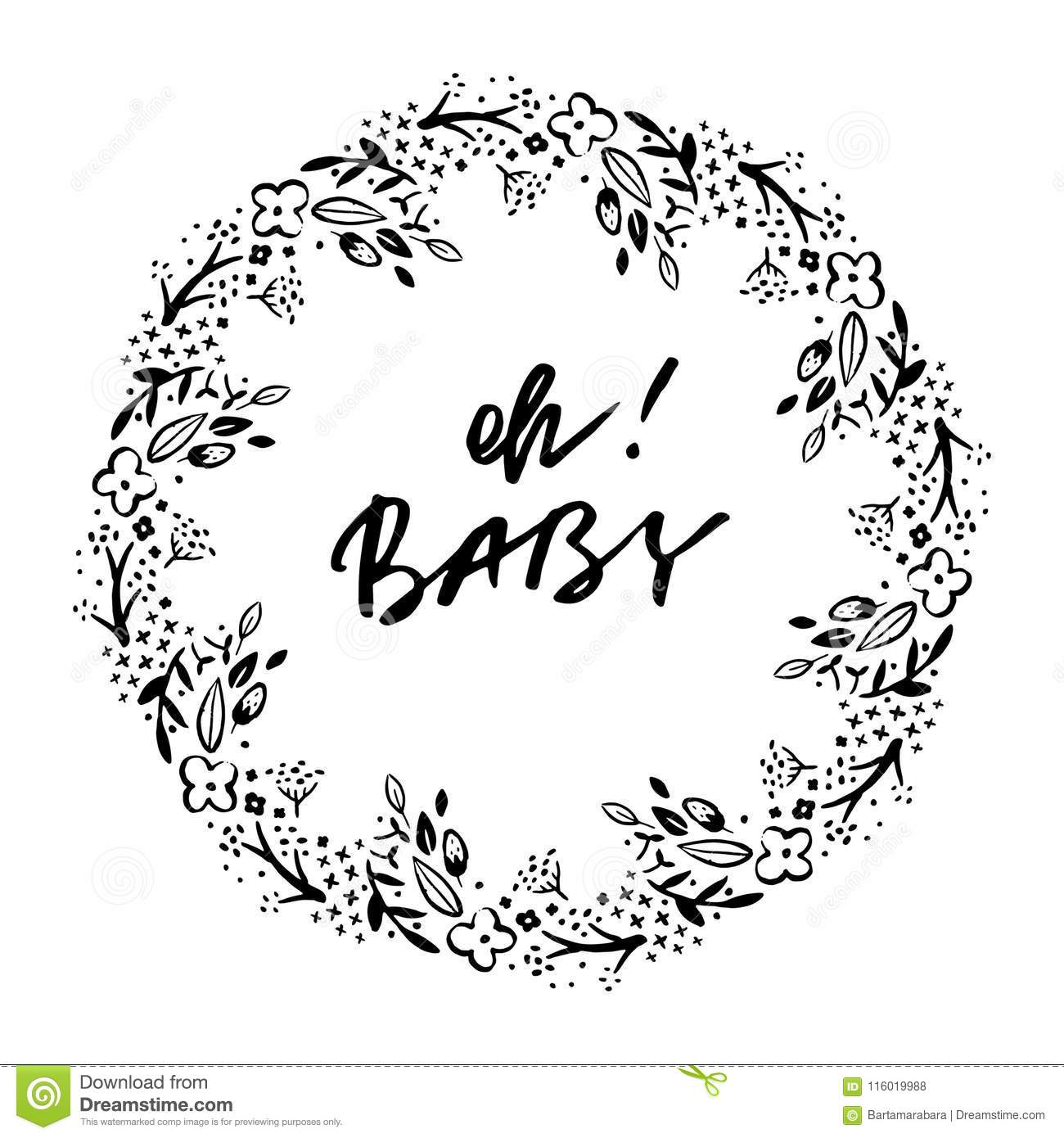 Oh baby phrase baby shower invitation card ink illustration oh baby phrase baby shower invitation card ink illustration modern brush calligraphy filmwisefo
