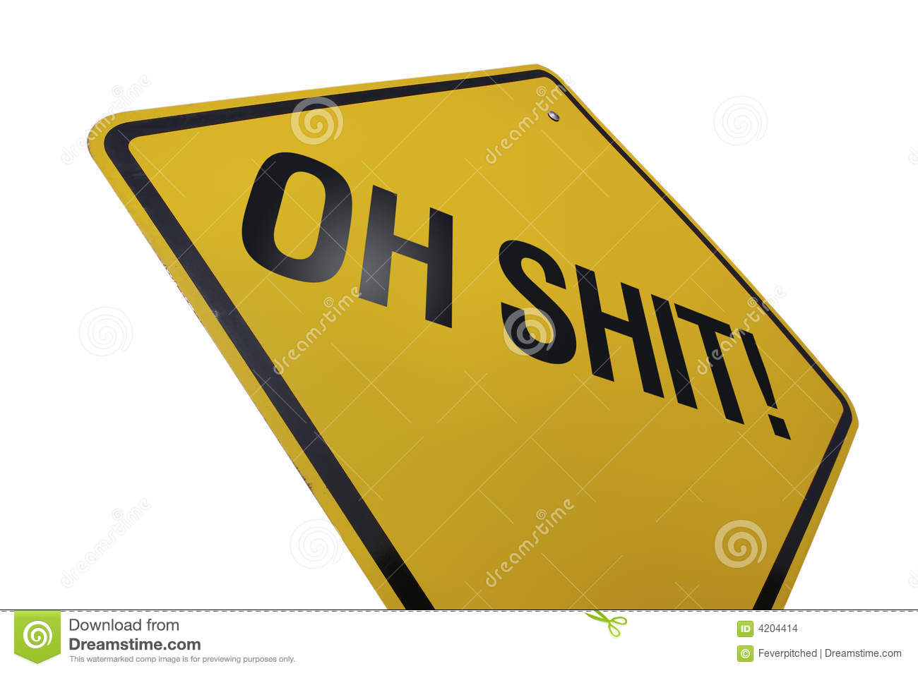 Oh Shit! Road Sign Isolated on white Background-includes clipping path ...