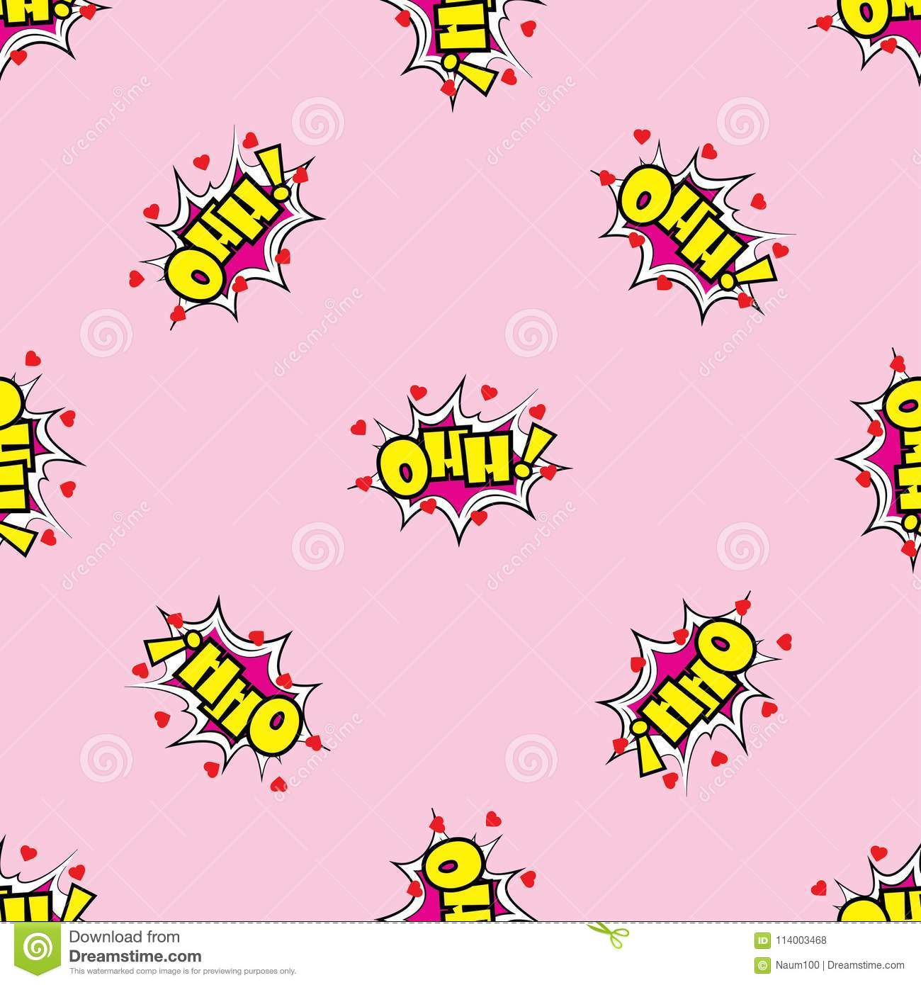 ohh comic sound effects in pop art style seamless pattern stock