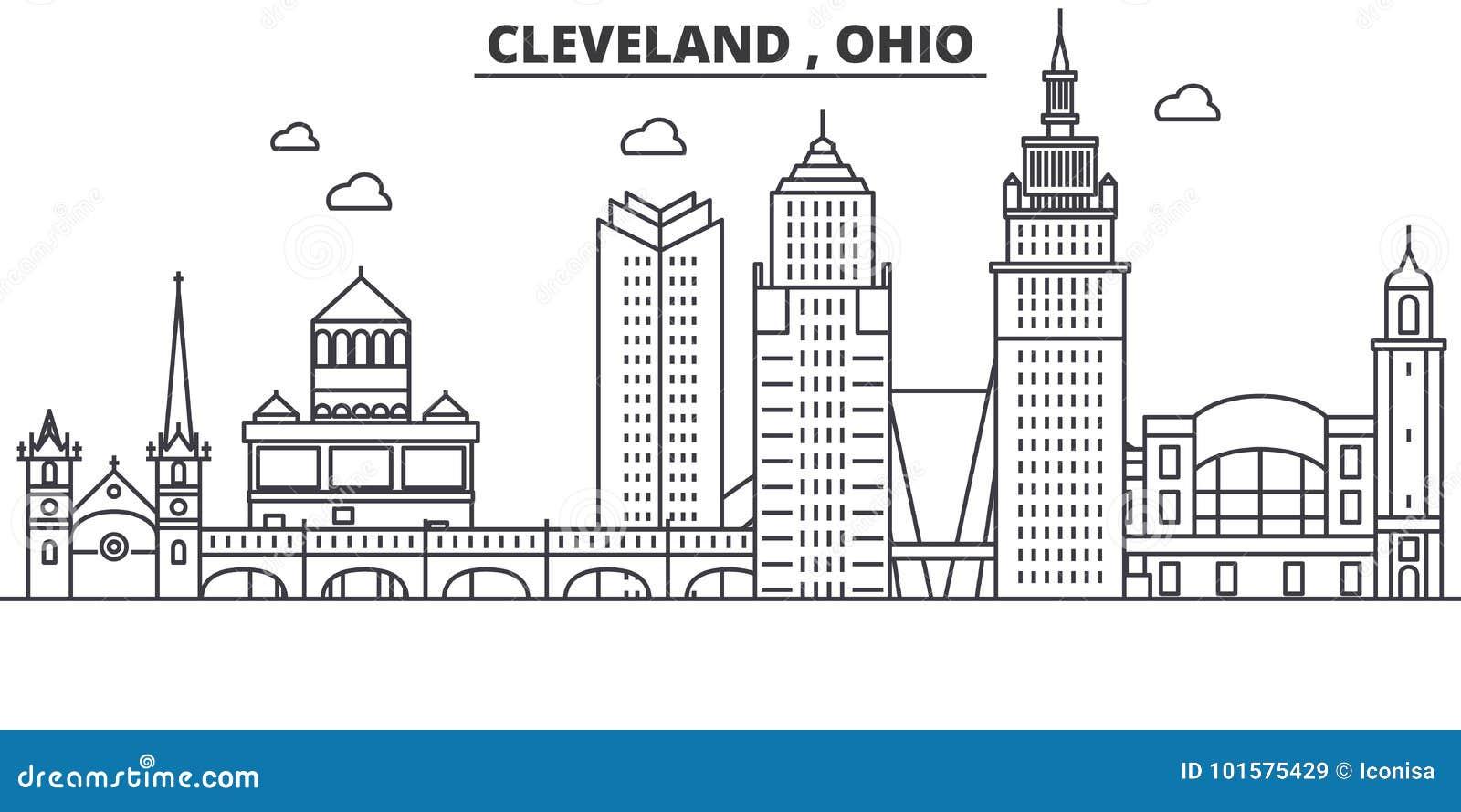 Ohio Cleveland Architecture Line Skyline Illustration