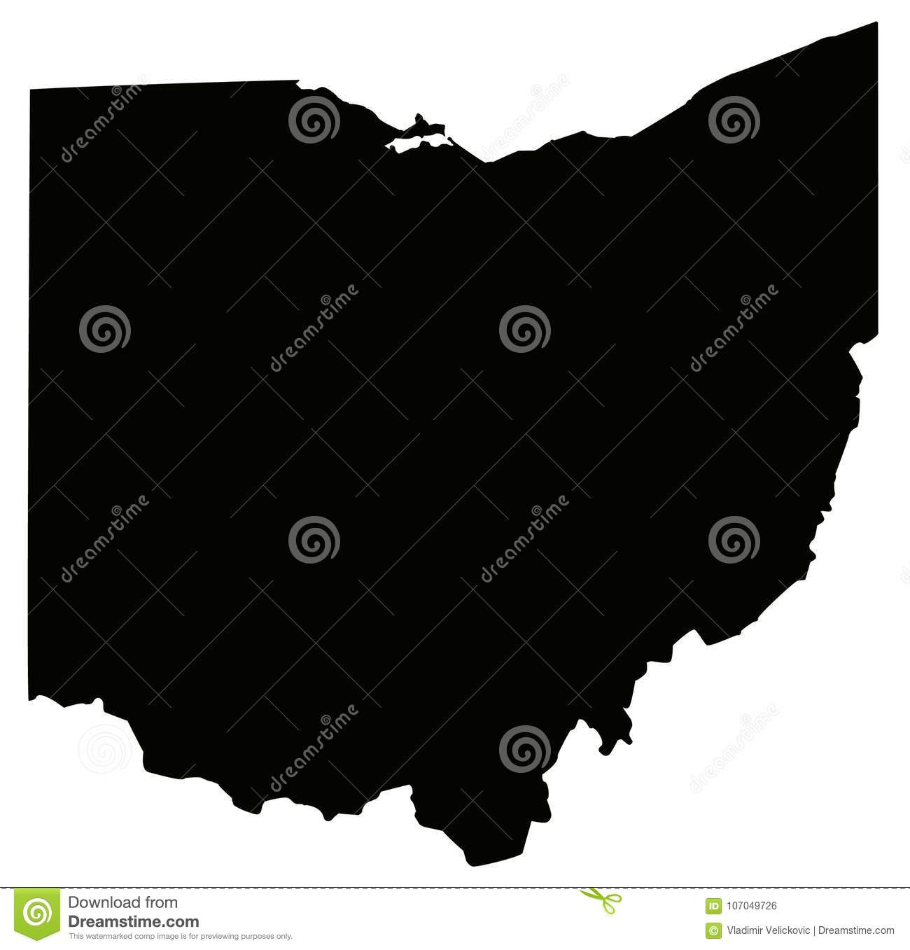 Ohio Map - State In The United States O America Stock Vector ...