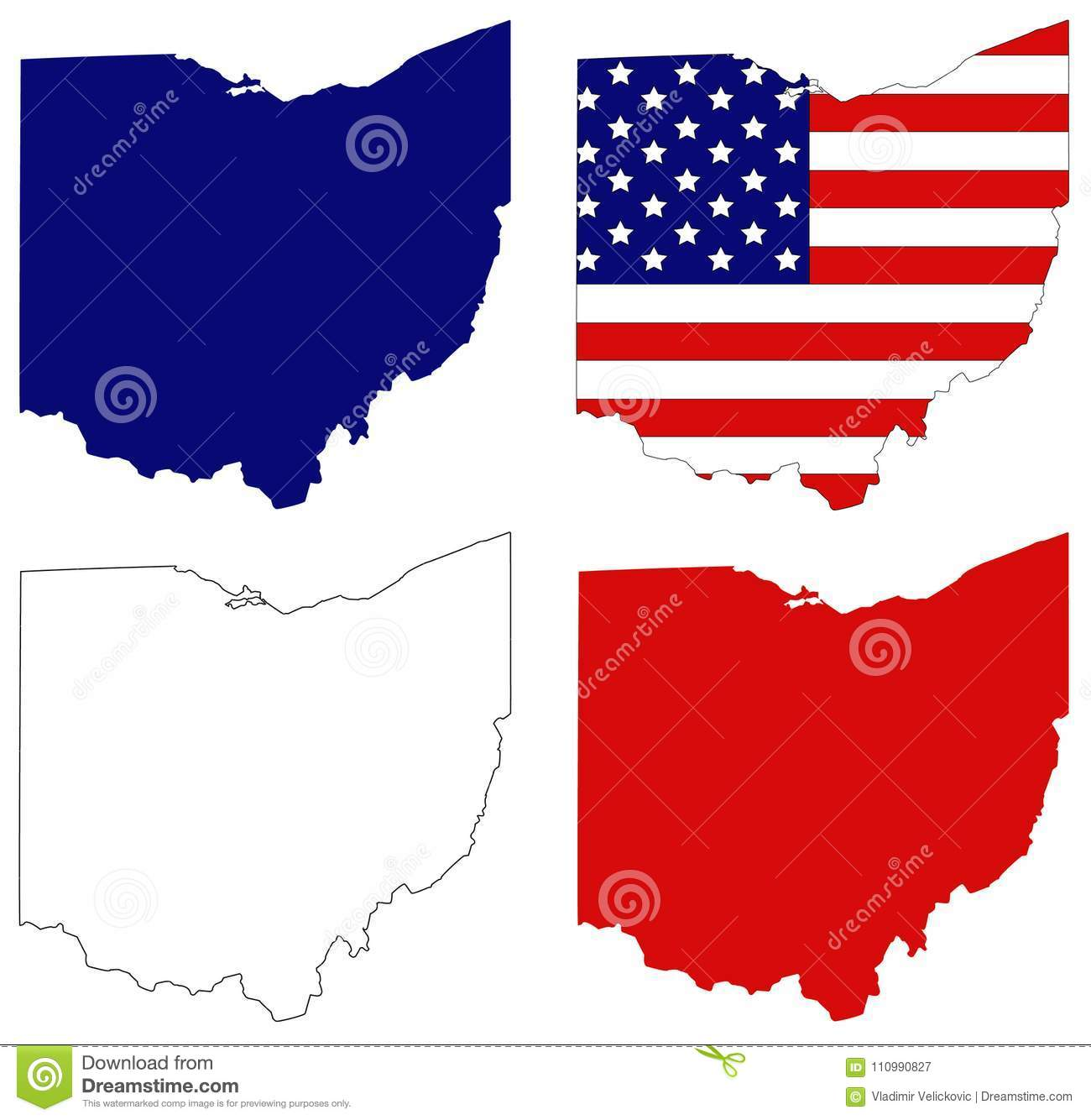 Ohio Map With USA Flag - Midwestern State In The Great Lakes Region ...
