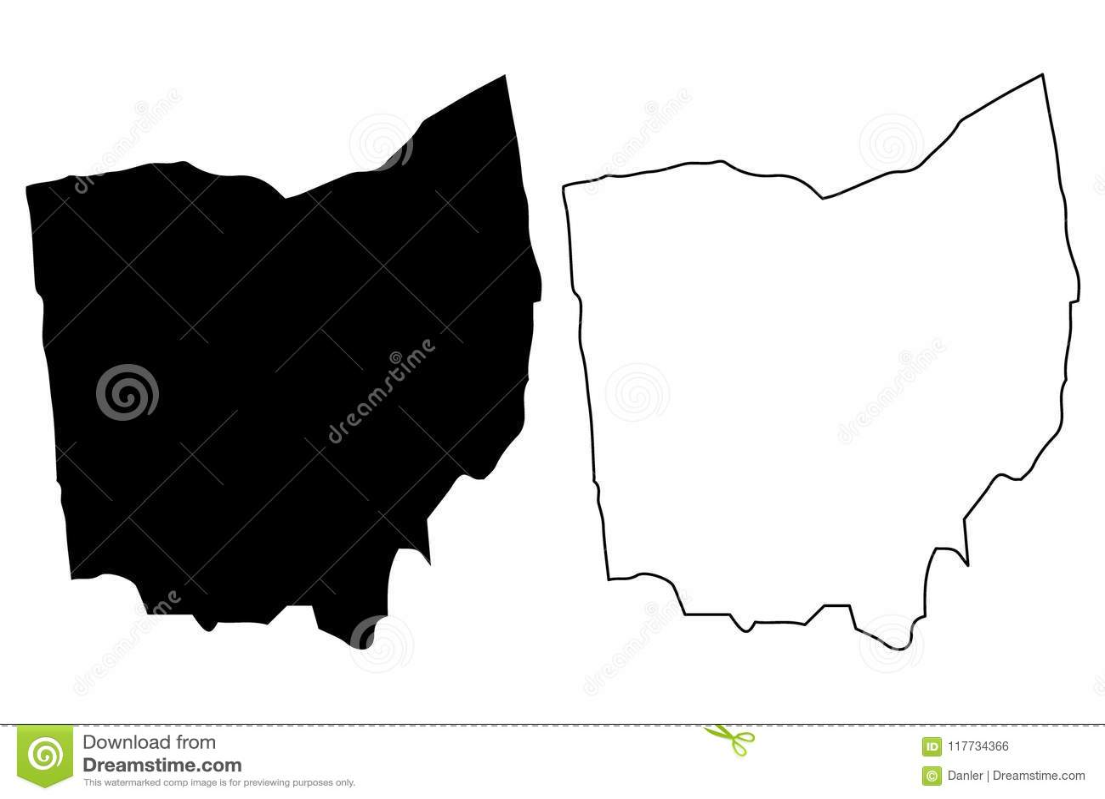 Free Ohio Map.Ohio Map Vector Stock Vector Illustration Of Patriotic 117734366