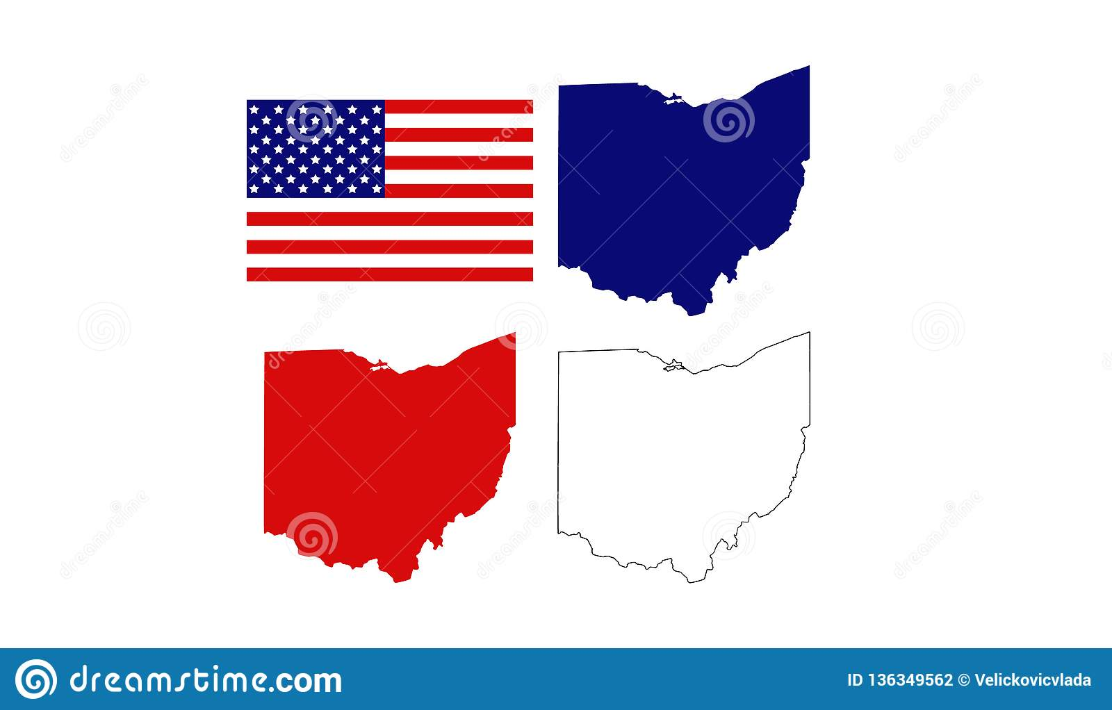 Ohio Maps With USA Flag - Midwestern State In The Great Lakes Region ...