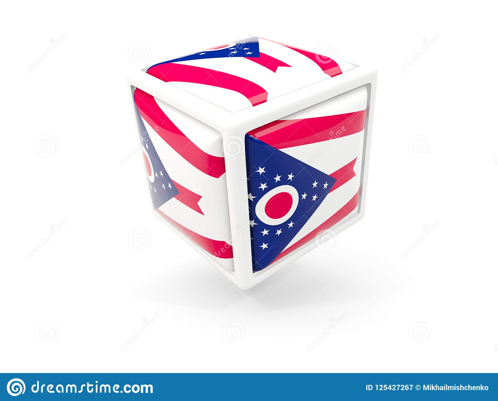 Ohio State Flag In Cube Icon  United States Local Flags