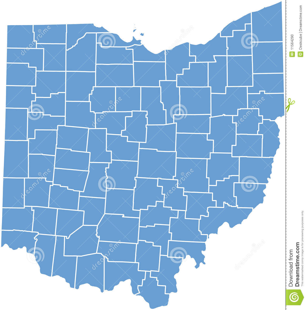 Ohio State map by counties stock illustration. Illustration ...