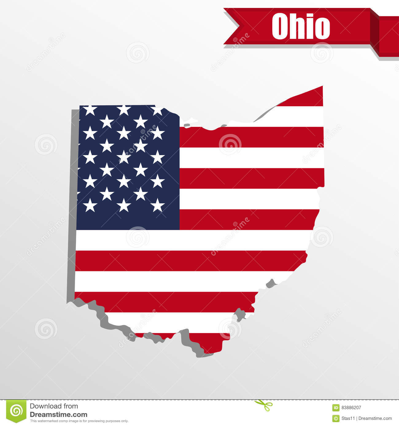 Ohio State Map With US Flag Inside And Ribbon Stock Vector Image - State map of us ohio