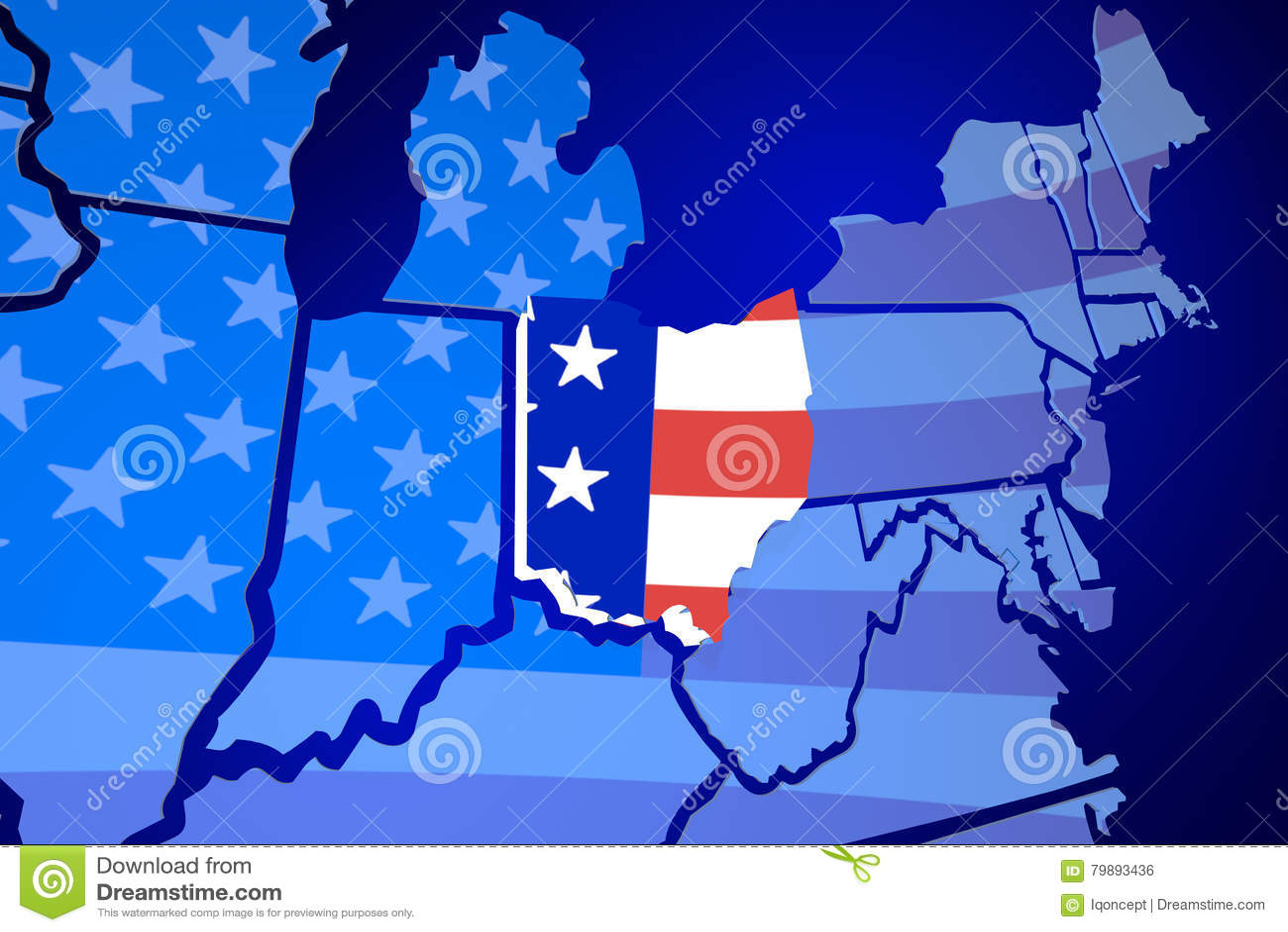 Ohio State Map Usa United States America Flag Stock Ilration Ohio America Map