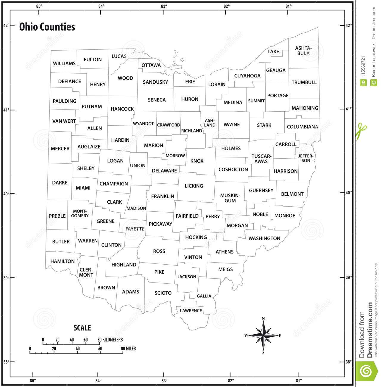 Ohio State Outline Administrative And Political Vector Map In Black