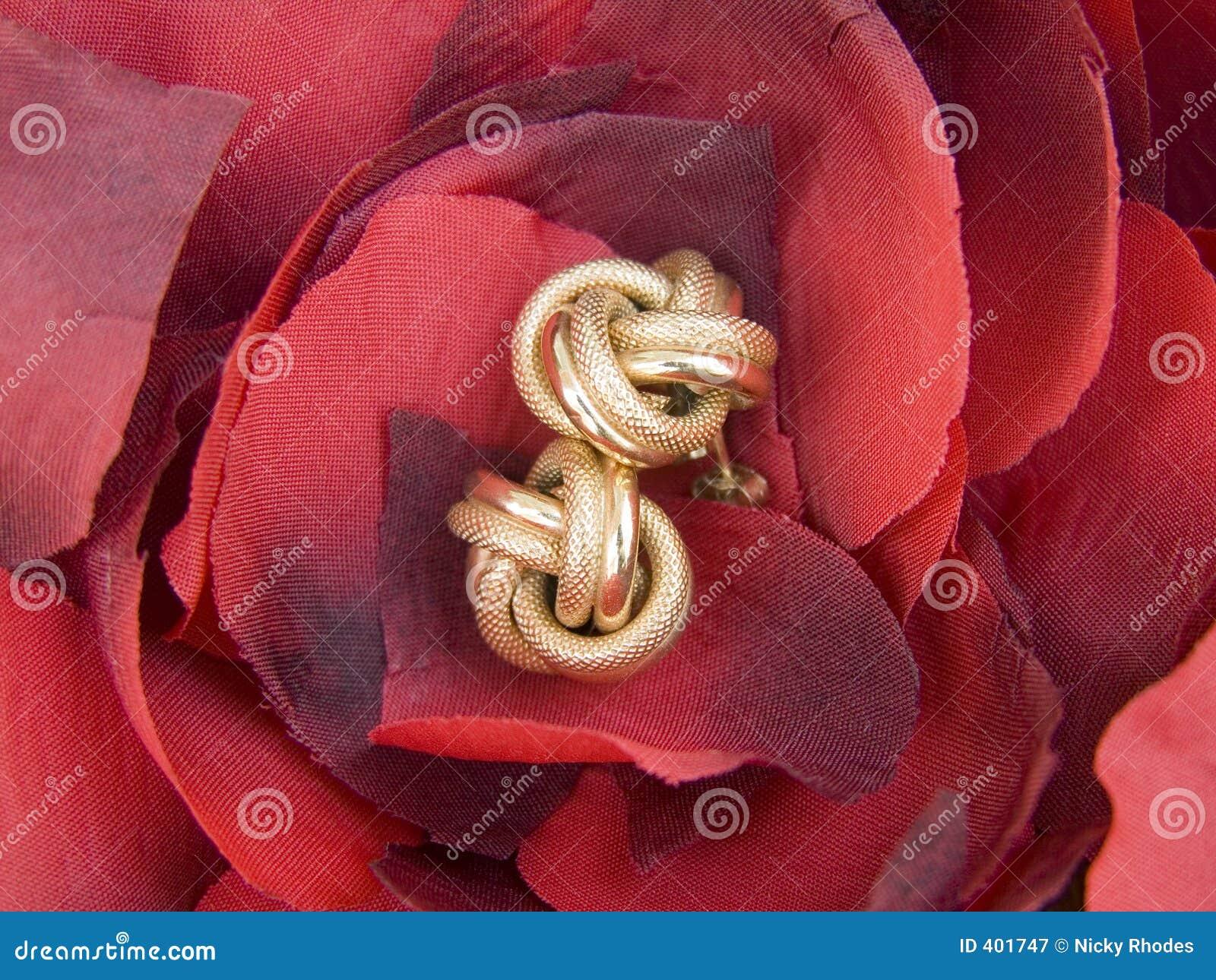 Ohrringe auf Blumenblättern