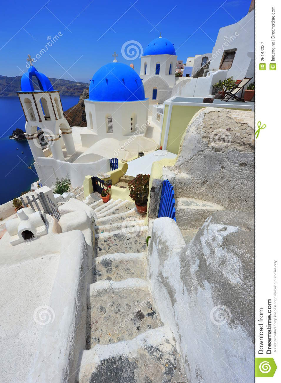 Oia Santorini Thira Greece Island White Stock