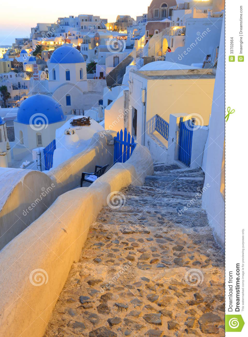 Oia Santorini Thira Greece Sunset Scene Stock Images