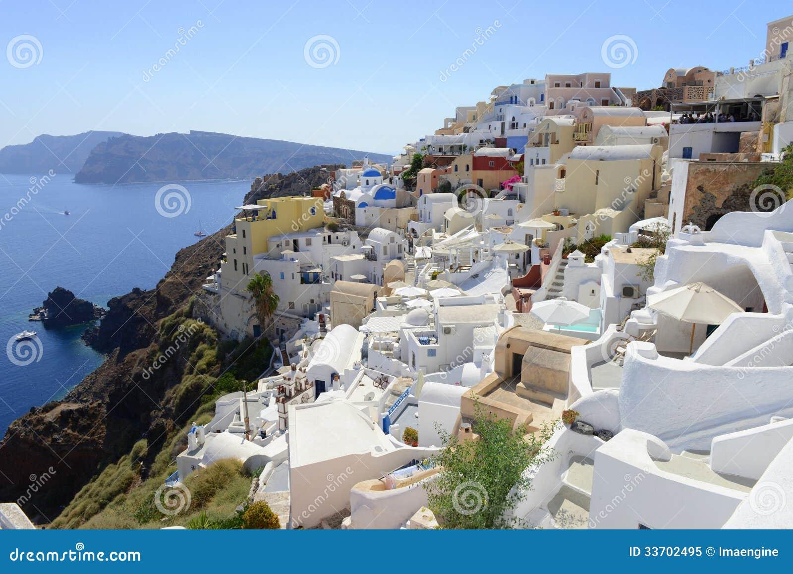 Oia Santorini Thira Greece View Over Caldera Stock