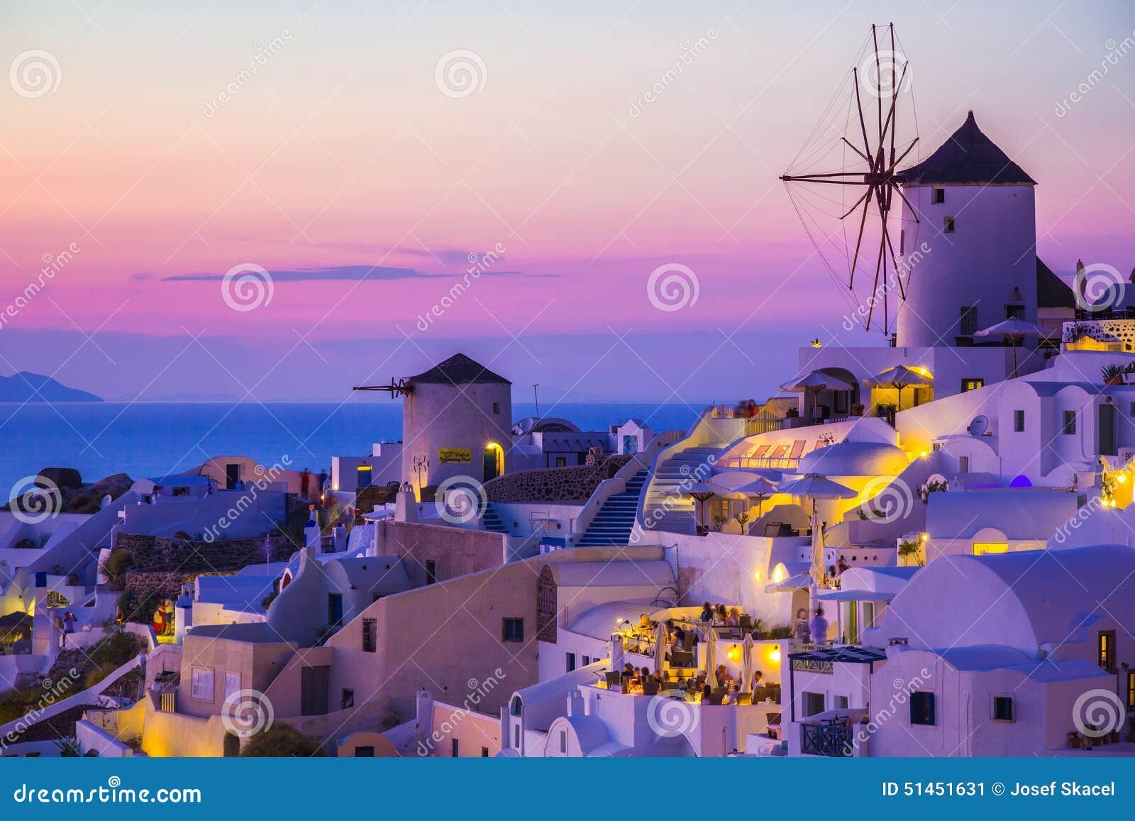 Oia solnedgång, Santorini ö, Grekland
