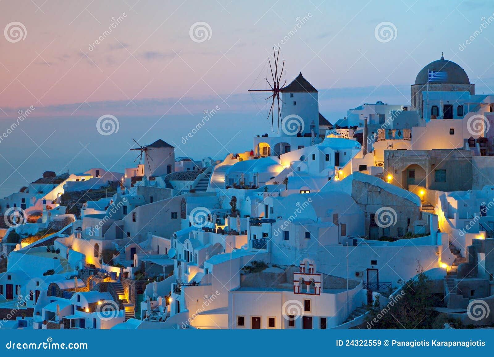 Oia village at Santorini island in Greece