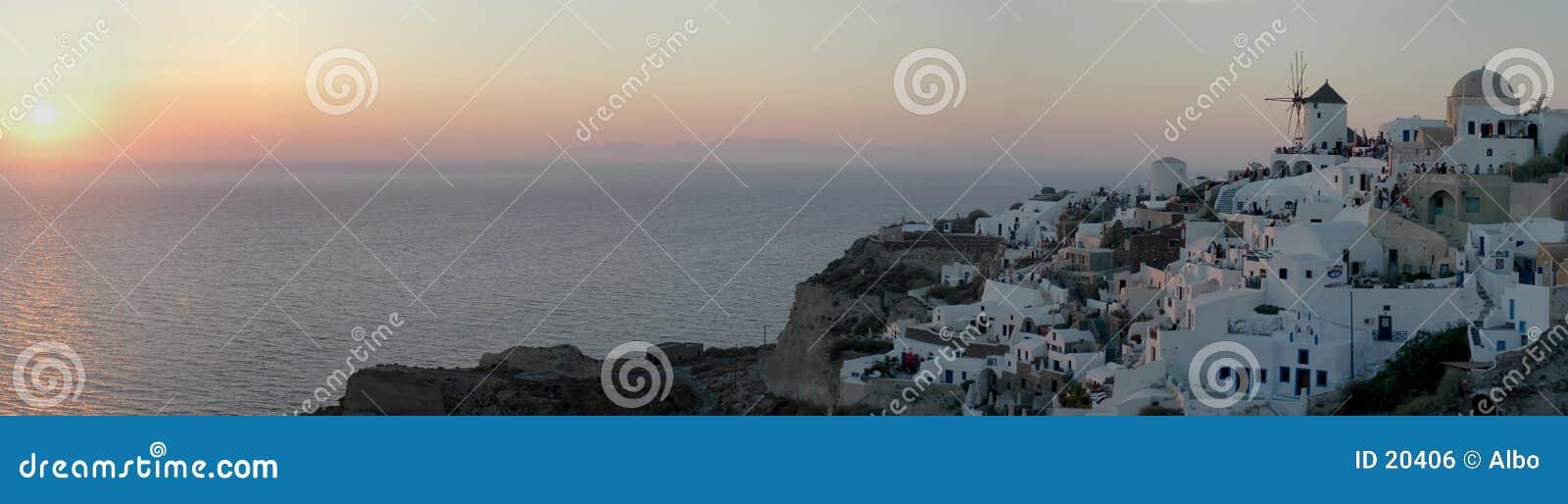 Oia zonsondergang (het beeld van parlementslid 30)