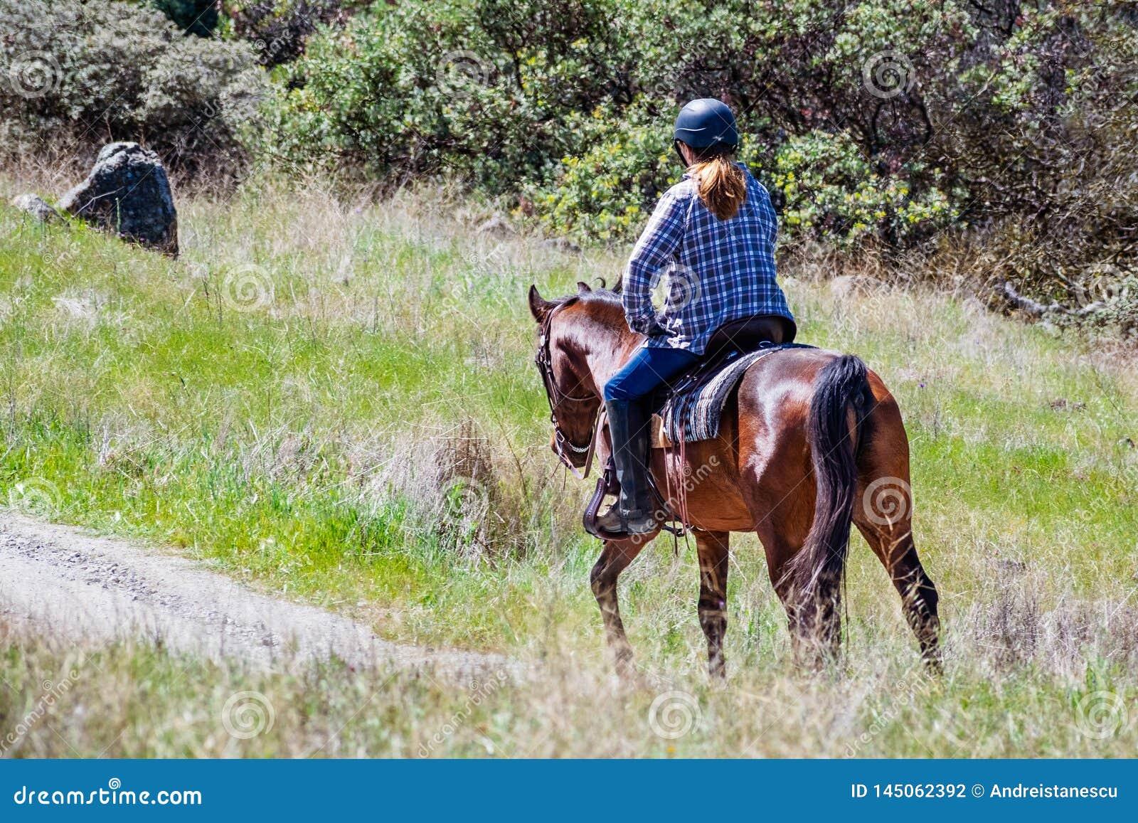 Oidentifierad kvinna som rider en häst på kullarna av södra San Francisco Bay område, Santa Clara County, San Jose, Kaliforni