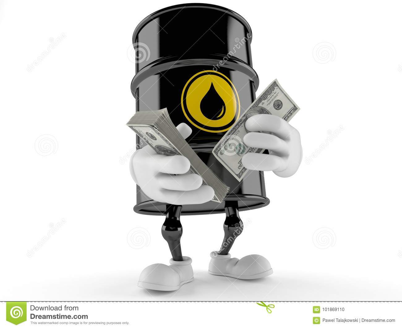 Oil barrel character counting money