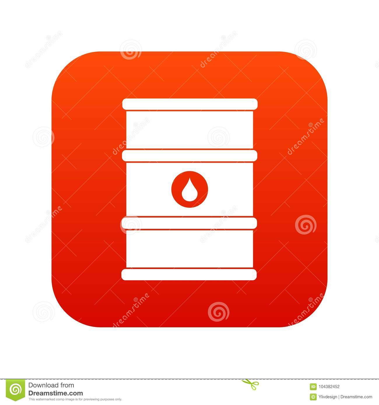 Oil barrel icon digital red