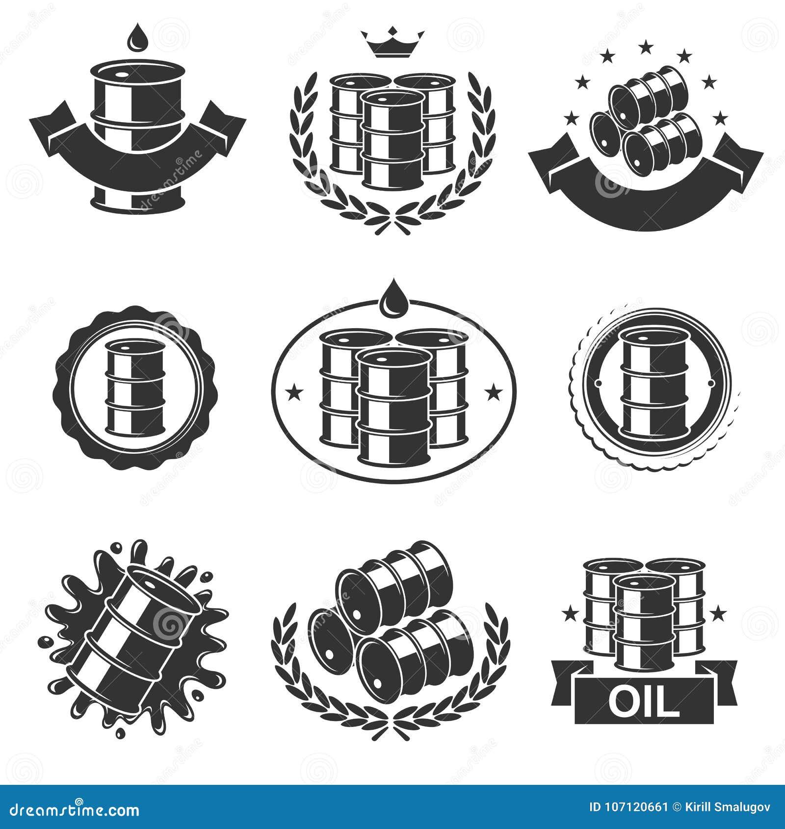 Oil barrel label collection set. Vector