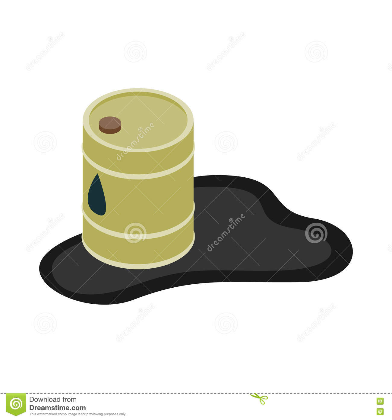 Oil barrel spill puddle icon, isometric 3d style