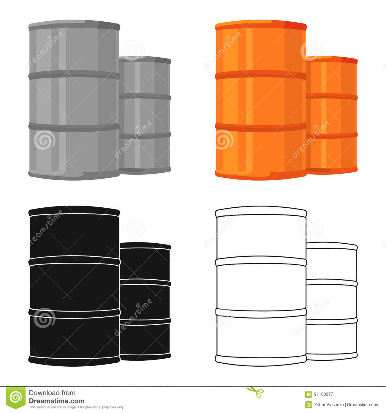Oil Barrels Icon In Cartoon Style Isolated On White Background Oil