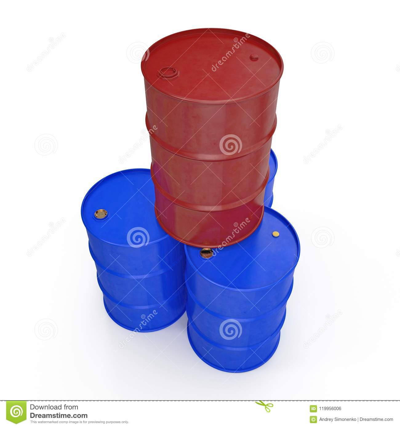 Oil barrels isolated on white. 3D illustration