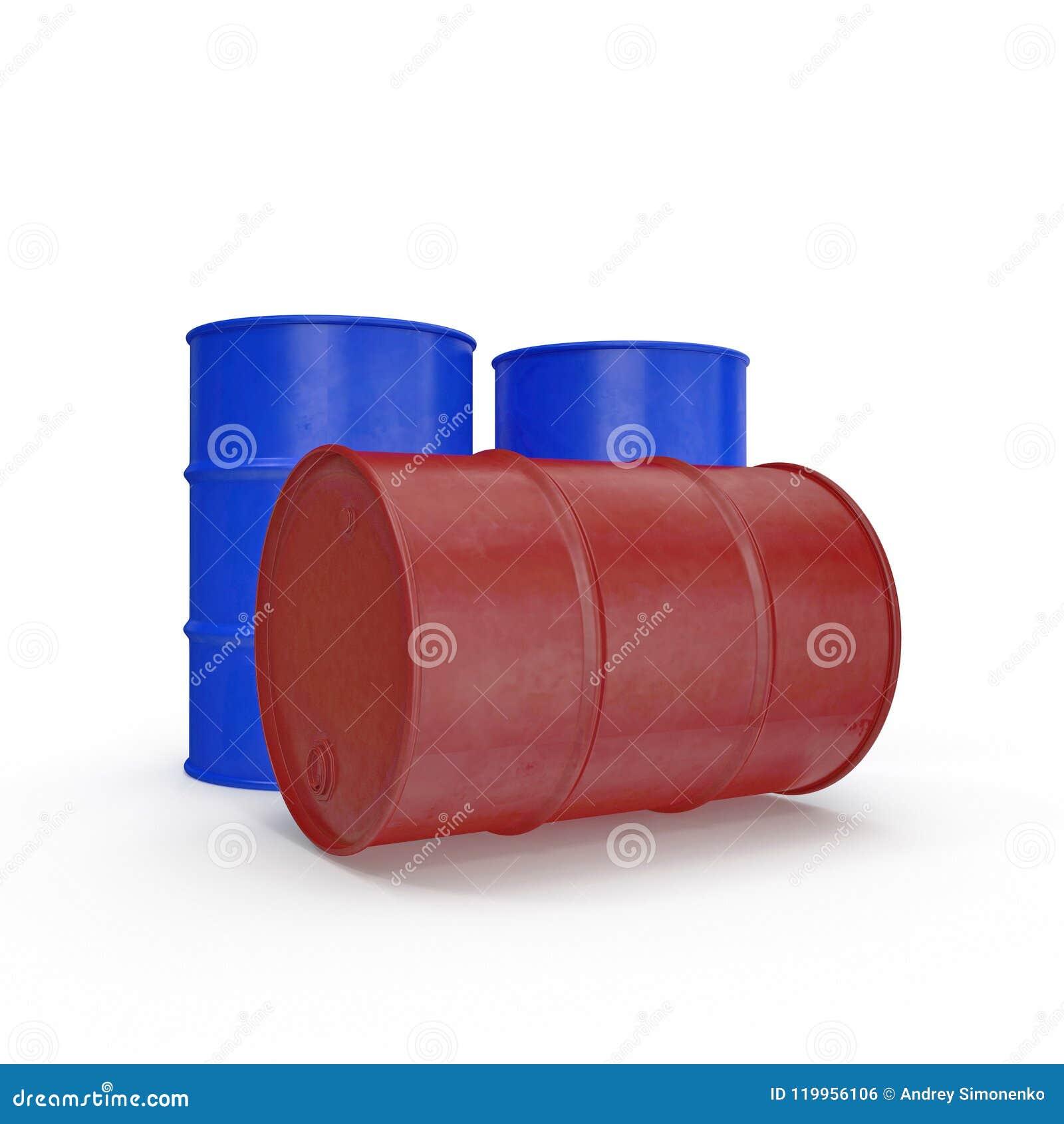 Oil barrels isolated on white. 3D illustration
