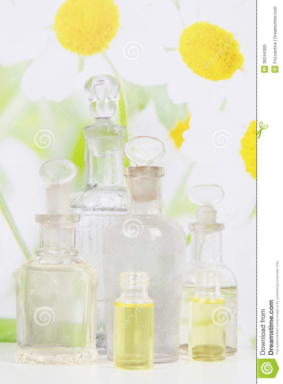 Oil And Camomile Spa Decoration In White And Yellow