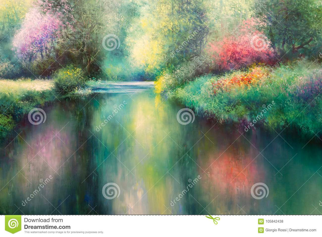 Oil Canvas Painting: Spring Meadow with Coloful Nature, River and Trees