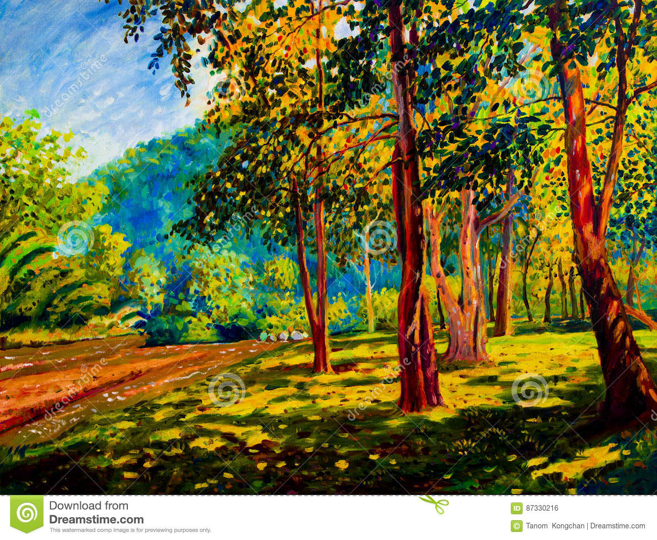 Oil Color Painting Landscape On Canvas Colorful Of Trees Gaden ...