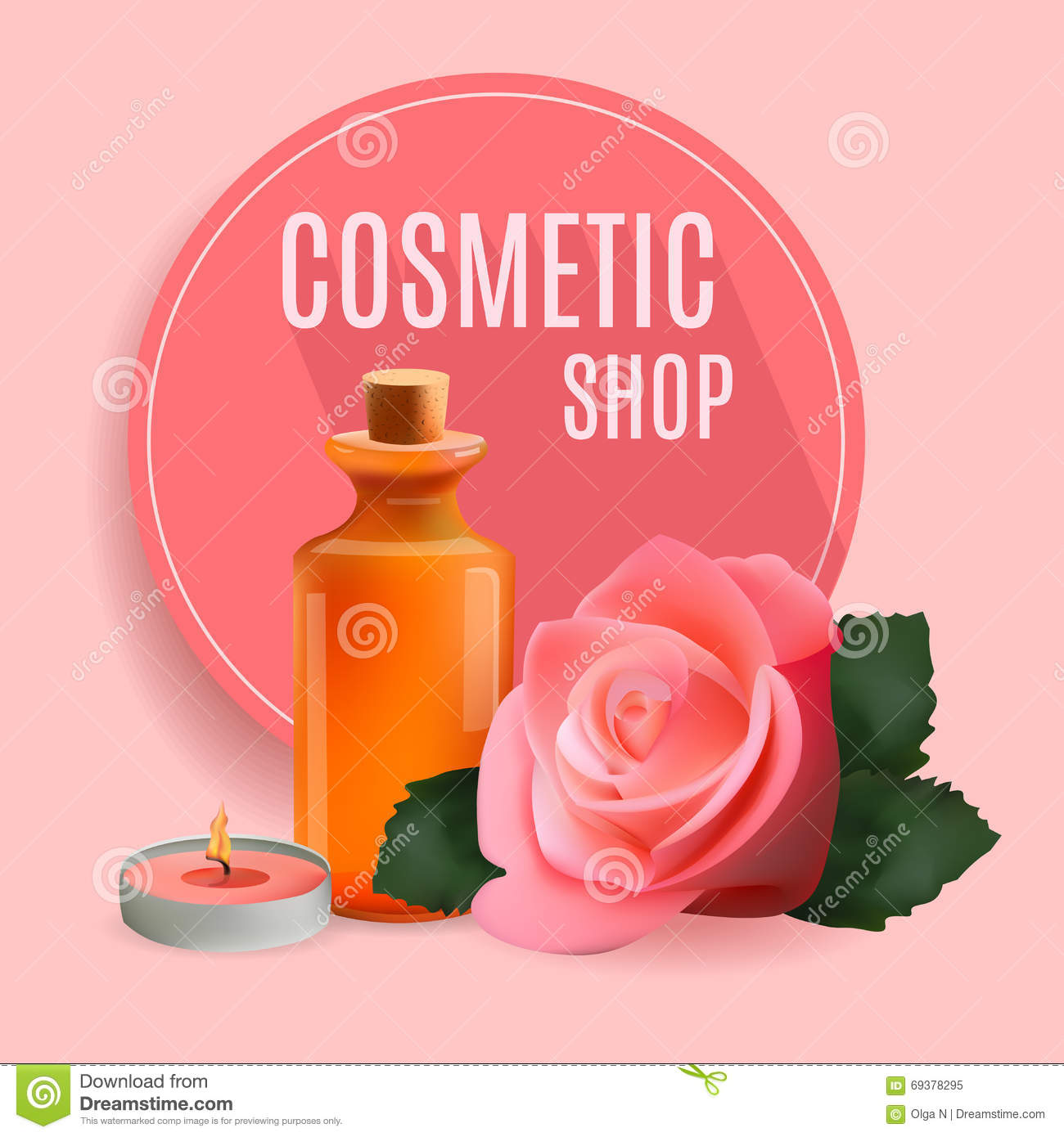 Oil Cosmetic Bottle With Candle And Rose . Template Cosmetic Shop ...
