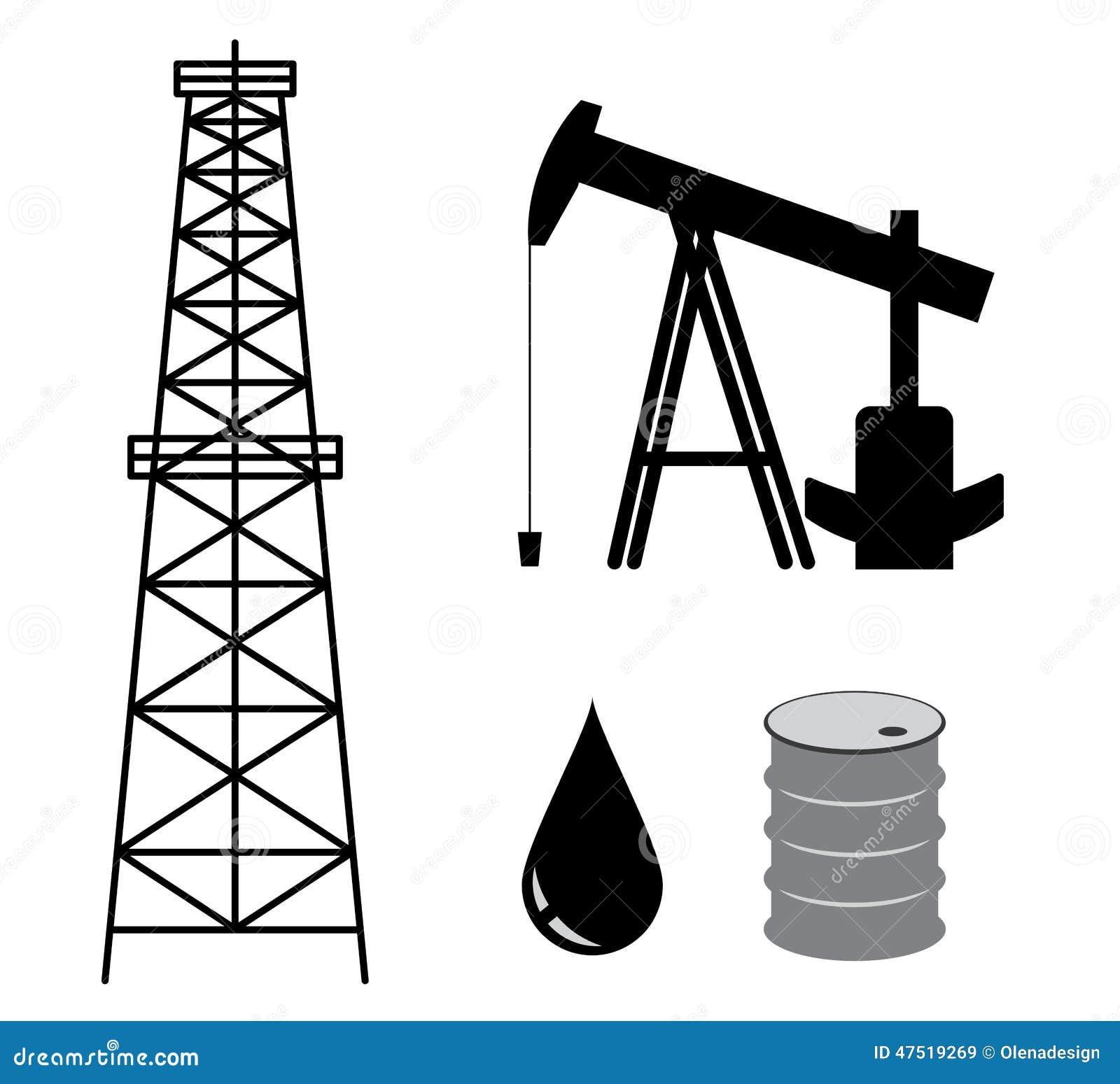 Oil Derrick With Pump And Barrel - Set - Vector Stock Vector - Image ...