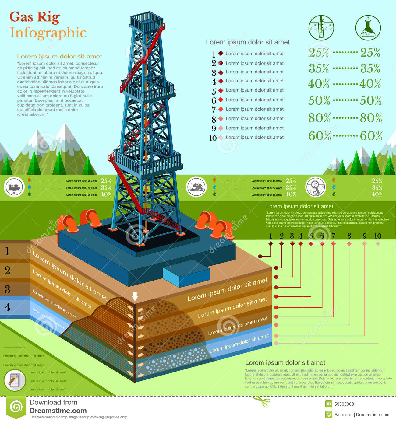 Oil Derrick Tower Or Gas Rig Business Infographic Stock
