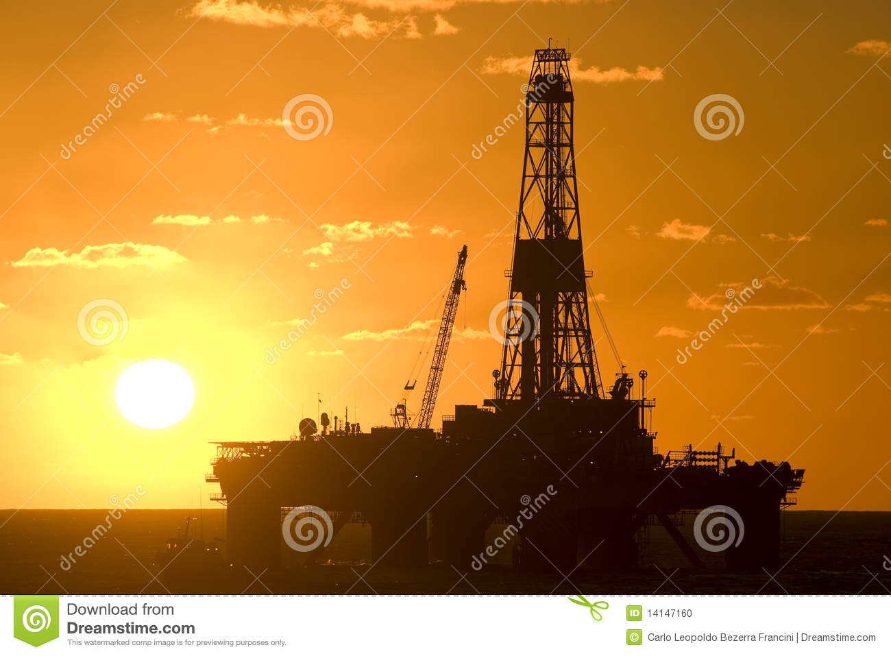 Oil Drilling rig silhouete