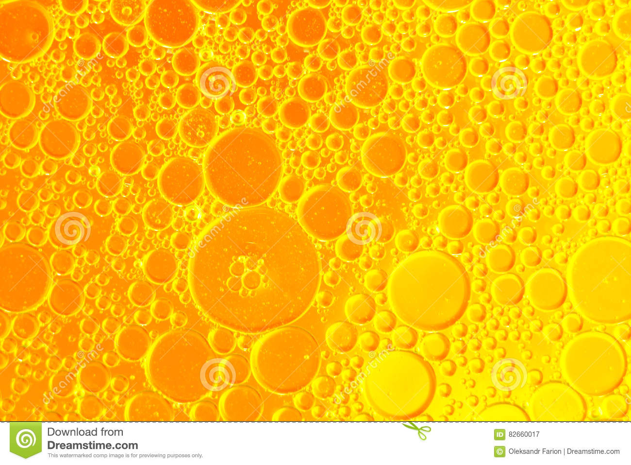 Oil Drops Floating In Water Abstract Orange Color Background