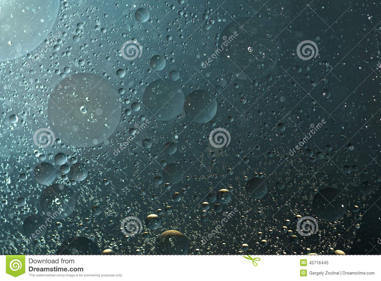 Grayish Blue Oil Drops Grayish Blue In The Water Abstract Background Stock