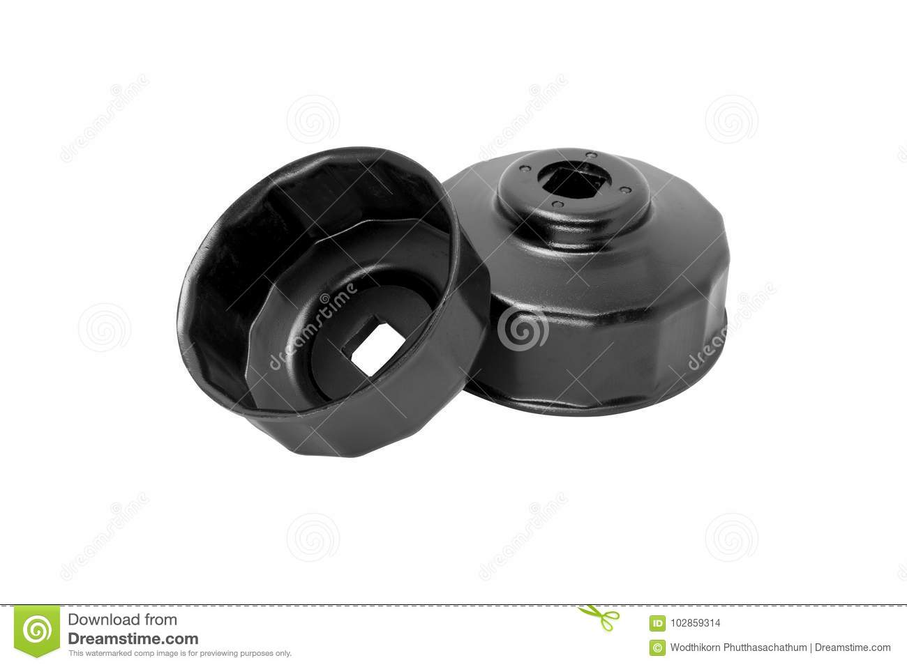 Oil Filter Wrench Cup Type, Top View Of Black Oil Filter